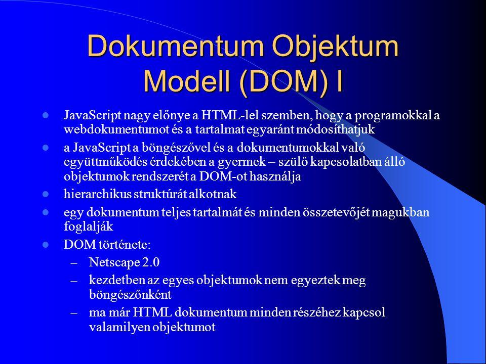 Dokumentum Objektum Modell (DOM) I