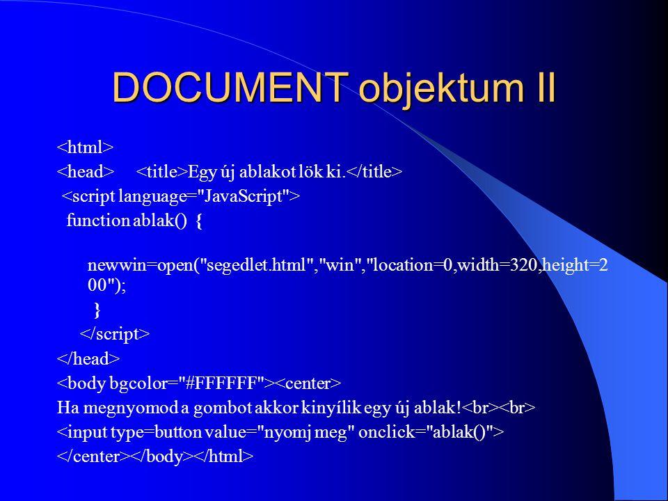 DOCUMENT objektum II <html>