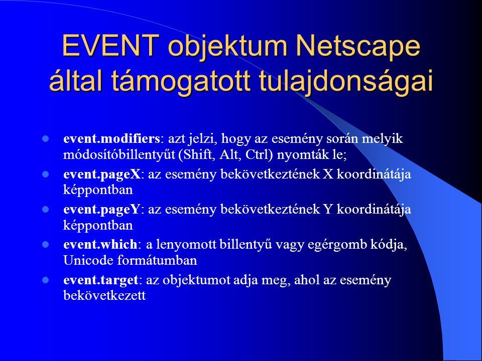 EVENT objektum Netscape által támogatott tulajdonságai