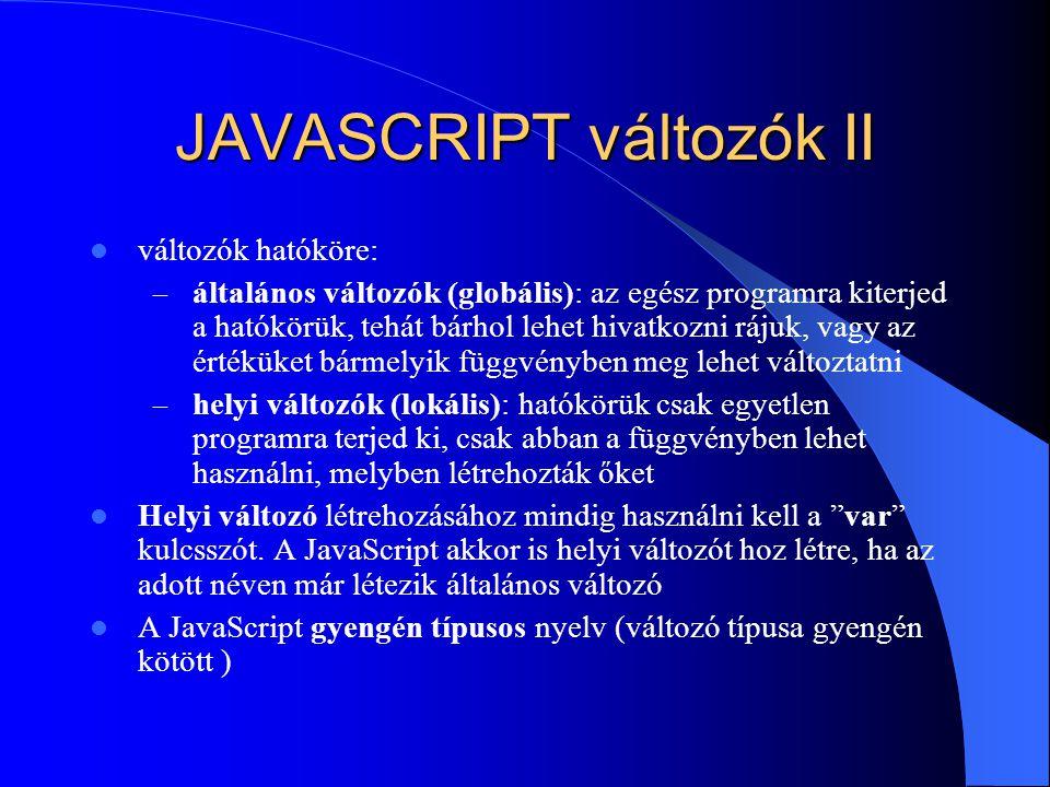JAVASCRIPT változók II