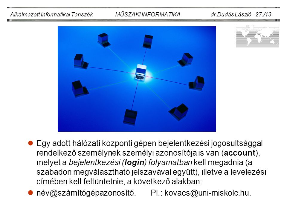 név@számítógépazonosító. Pl.: kovacs@uni-miskolc.hu.