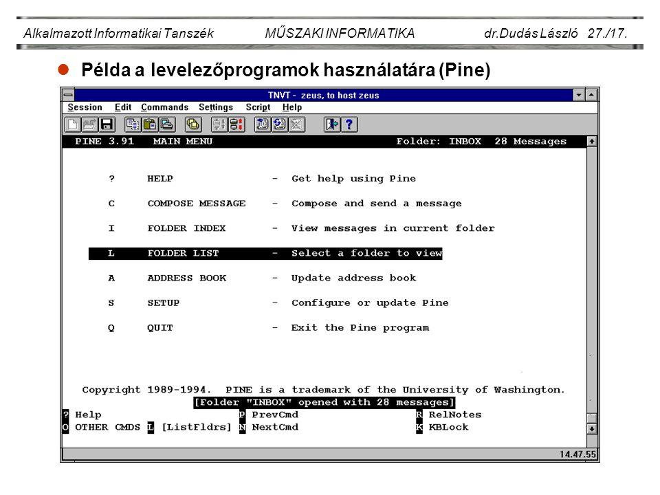 Példa a levelezőprogramok használatára (Pine)