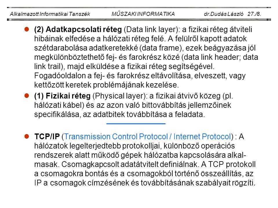 Alkalmazott Informatikai Tanszék MŰSZAKI INFORMATIKA dr