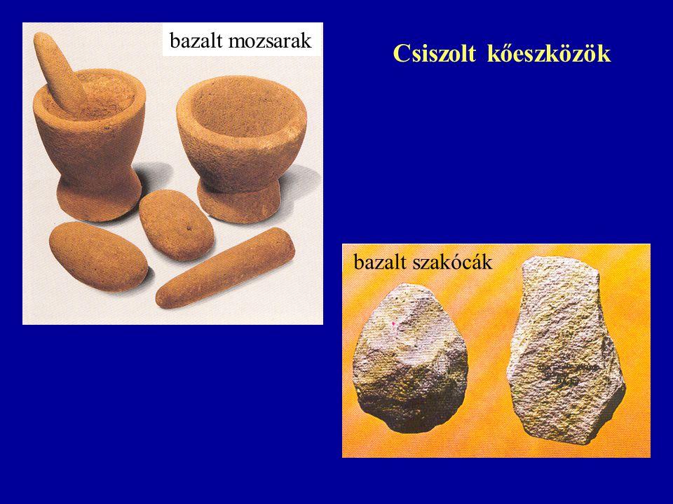 bazalt mozsarak Csiszolt kőeszközök bazalt szakócák