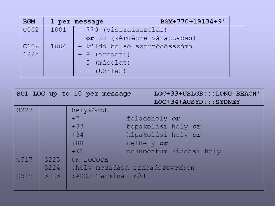 BGM 1 per message BGM+770+19134+9 C002 1001 + 770 (visszaigazolás) or 22 (kérdésre válaszadás) C106 1004 + küldő belső szerződésszáma.