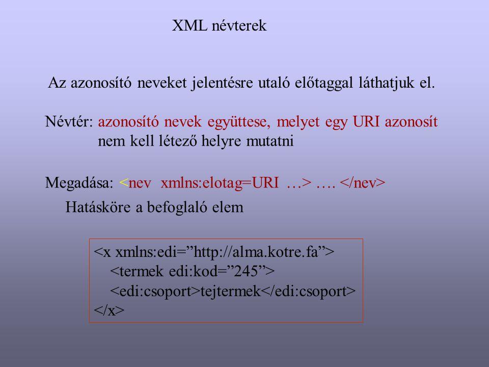 XML névterek Az azonosító neveket jelentésre utaló előtaggal láthatjuk el. Névtér: azonosító nevek együttese, melyet egy URI azonosít.