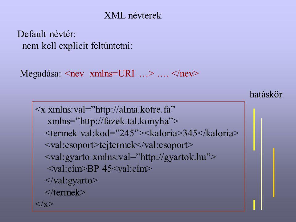 XML névterek Default névtér: nem kell explicit feltüntetni: Megadása: <nev xmlns=URI …> …. </nev>