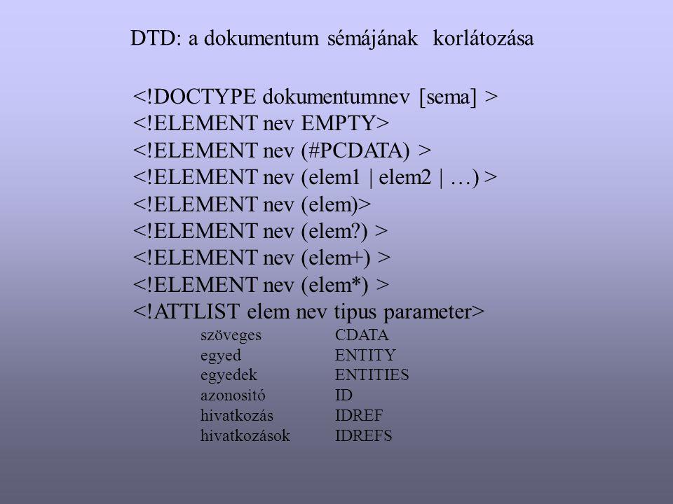 DTD: a dokumentum sémájának korlátozása