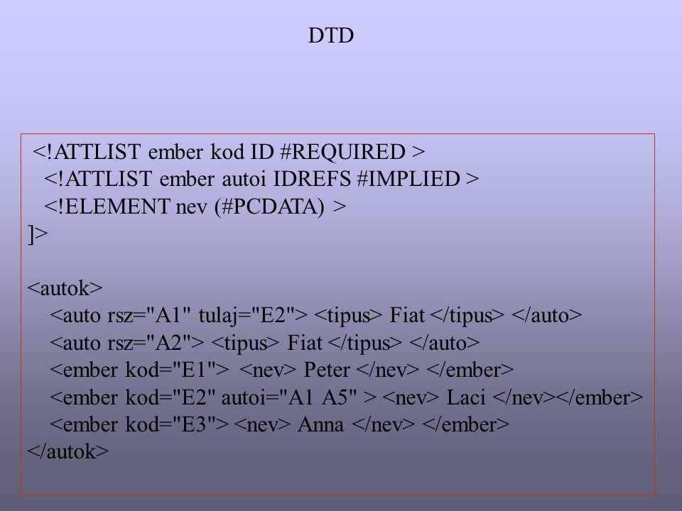 DTD <!ATTLIST ember kod ID #REQUIRED > <!ATTLIST ember autoi IDREFS #IMPLIED > <!ELEMENT nev (#PCDATA) >
