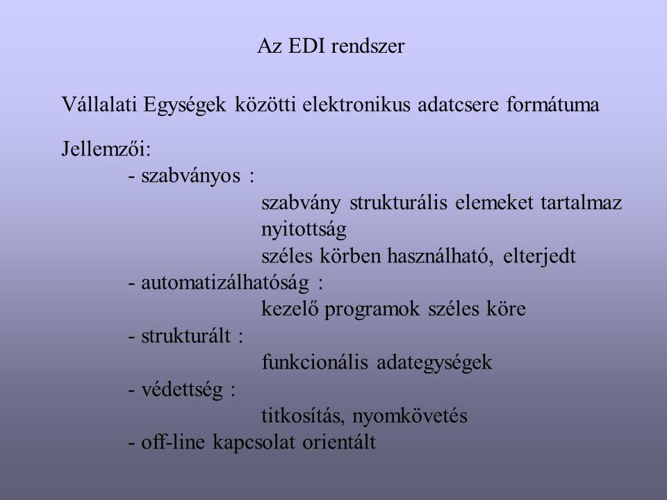 Az EDI rendszer Vállalati Egységek közötti elektronikus adatcsere formátuma. Jellemzői: - szabványos :