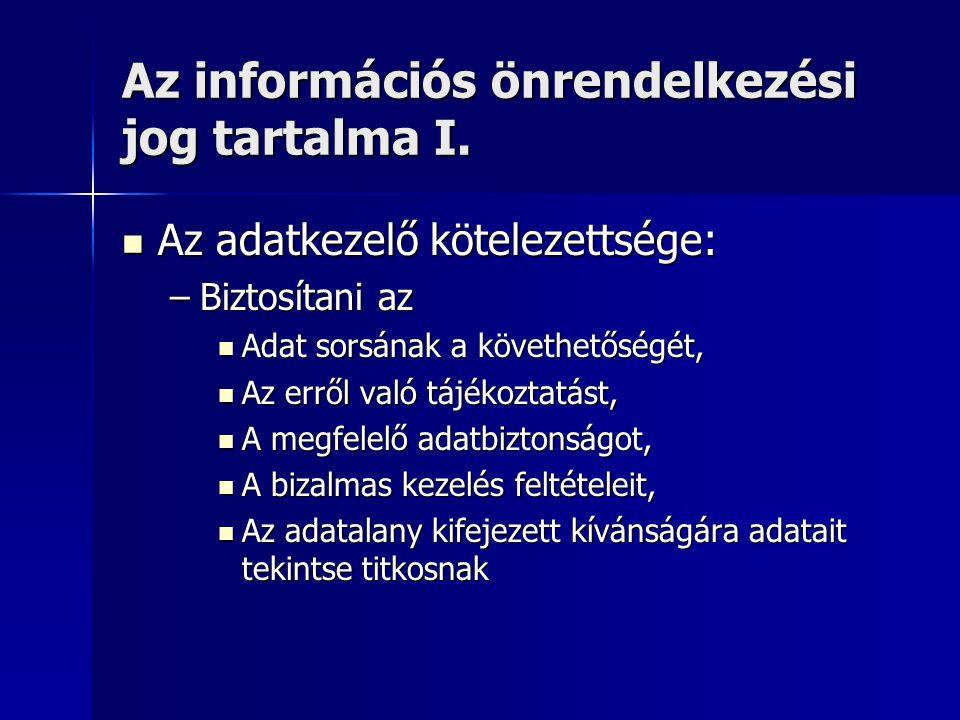 Az információs önrendelkezési jog tartalma I.