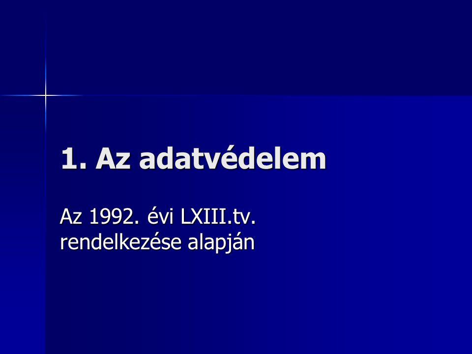 Az 1992. évi LXIII.tv. rendelkezése alapján