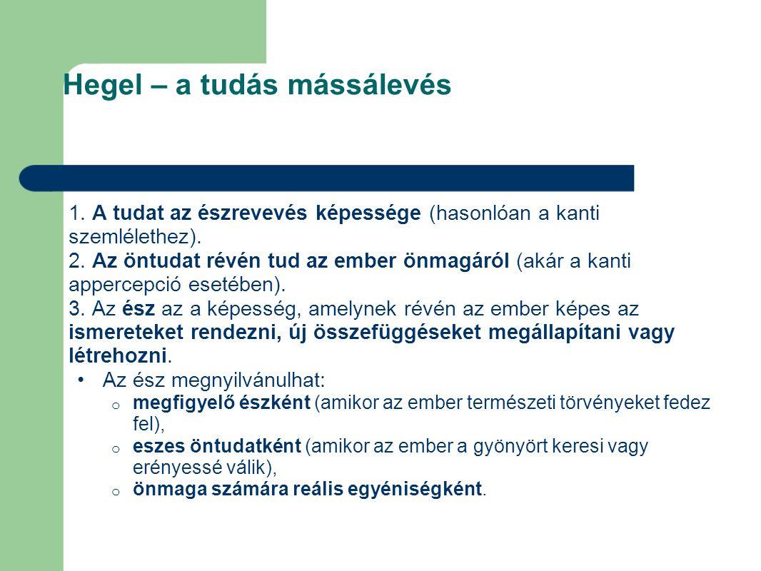 Hegel – a tudás mássálevés