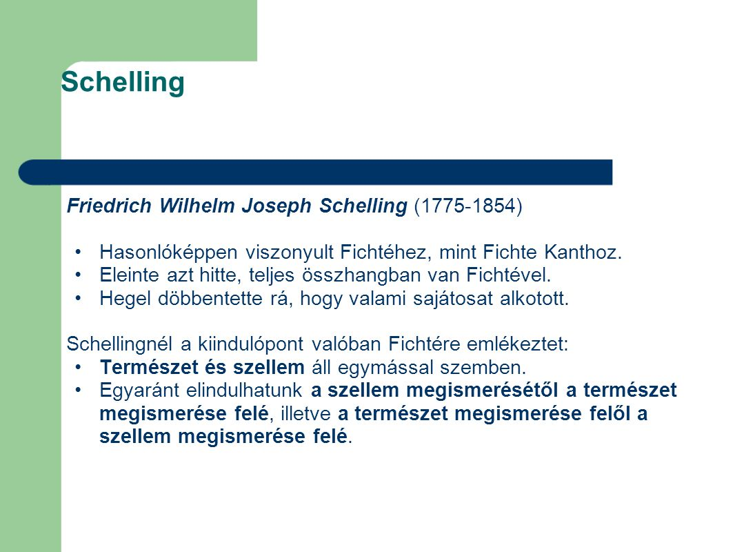 Schelling Friedrich Wilhelm Joseph Schelling (1775-1854)