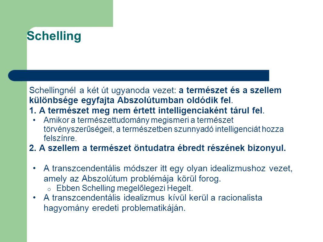Schelling Schellingnél a két út ugyanoda vezet: a természet és a szellem különbsége egyfajta Abszolútumban oldódik fel.