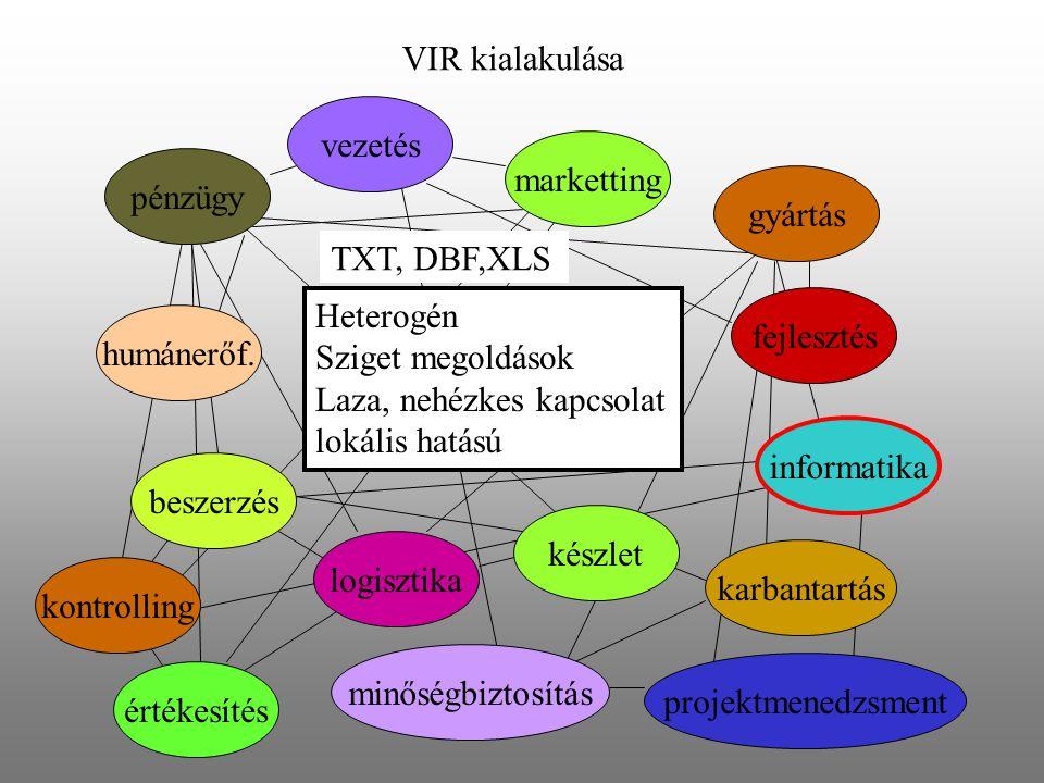 VIR kialakulása vezetés. marketting. pénzügy. gyártás. TXT, DBF,XLS. Heterogén. Sziget megoldások.