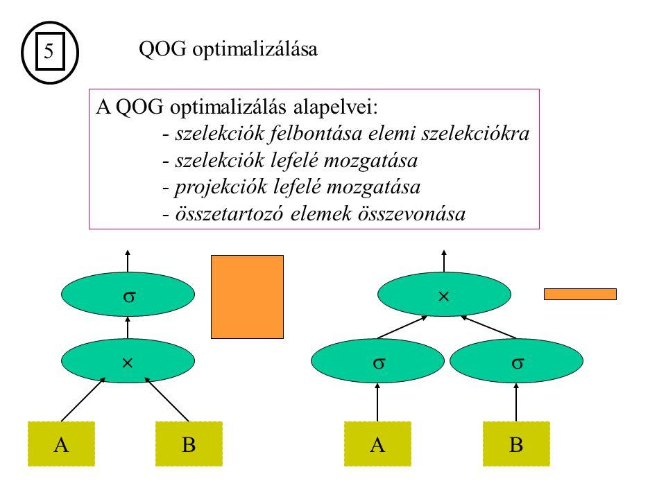 5 QOG optimalizálása. A QOG optimalizálás alapelvei: - szelekciók felbontása elemi szelekciókra. - szelekciók lefelé mozgatása.