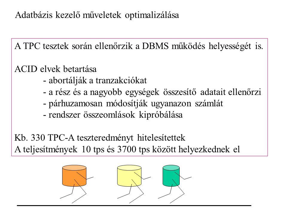 Adatbázis kezelő műveletek optimalizálása