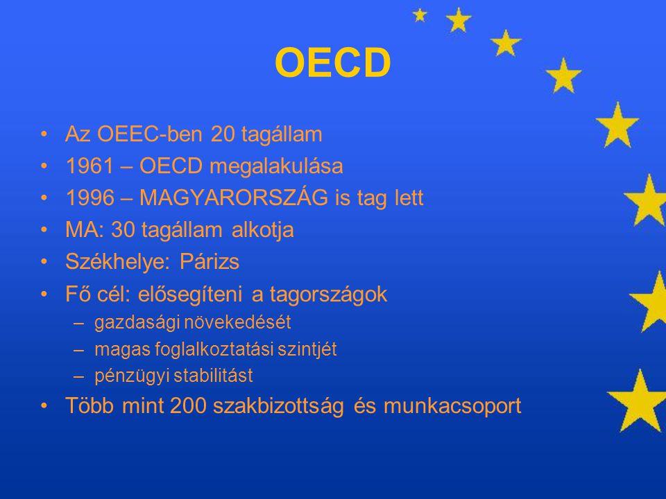 OECD Az OEEC-ben 20 tagállam 1961 – OECD megalakulása