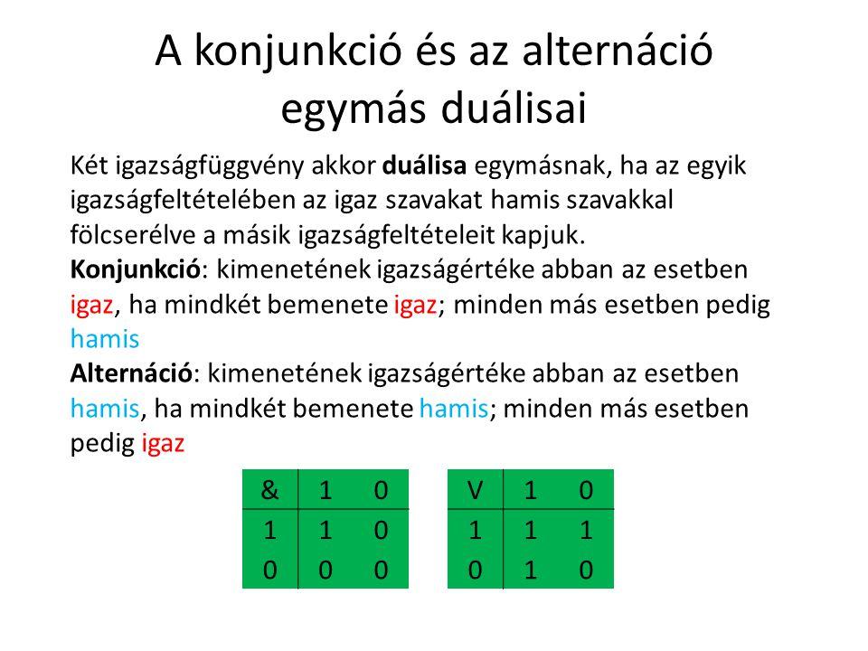 A konjunkció és az alternáció egymás duálisai