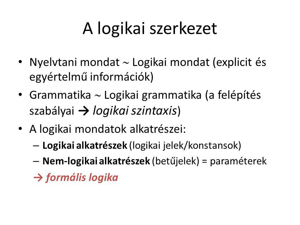 A logikai szerkezet Nyelvtani mondat  Logikai mondat (explicit és egyértelmű információk)