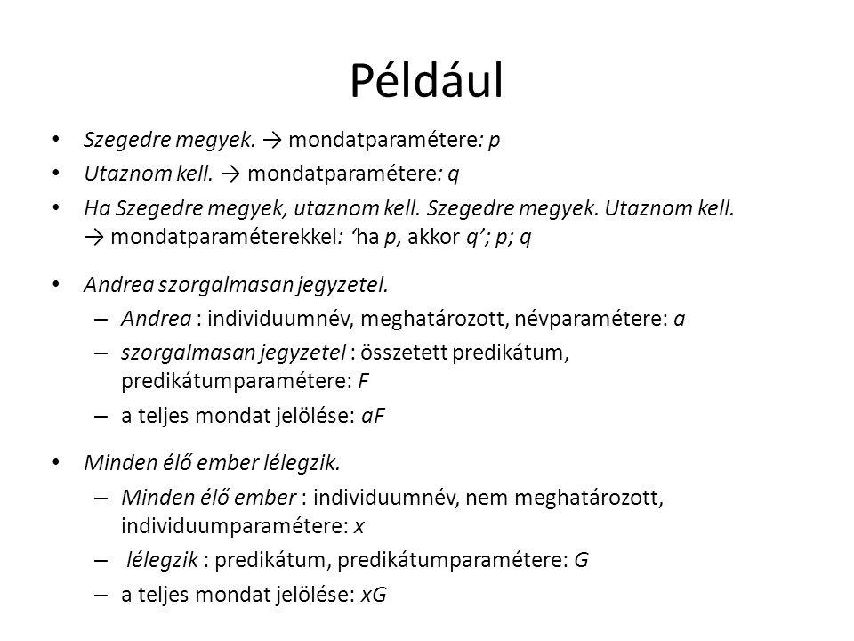 Például Szegedre megyek. → mondatparamétere: p