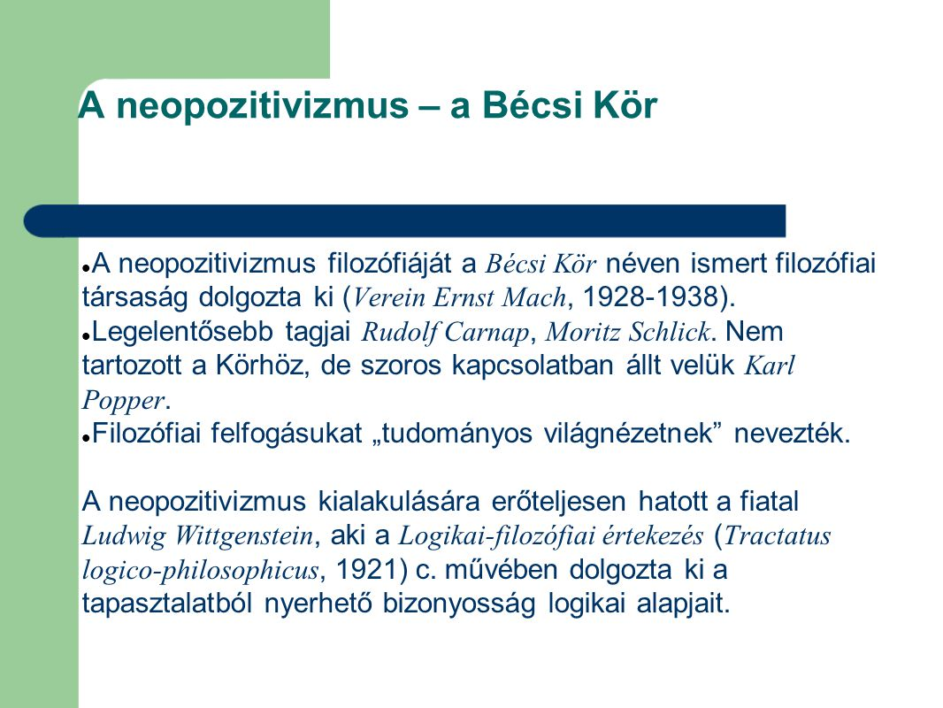 A neopozitivizmus – a Bécsi Kör
