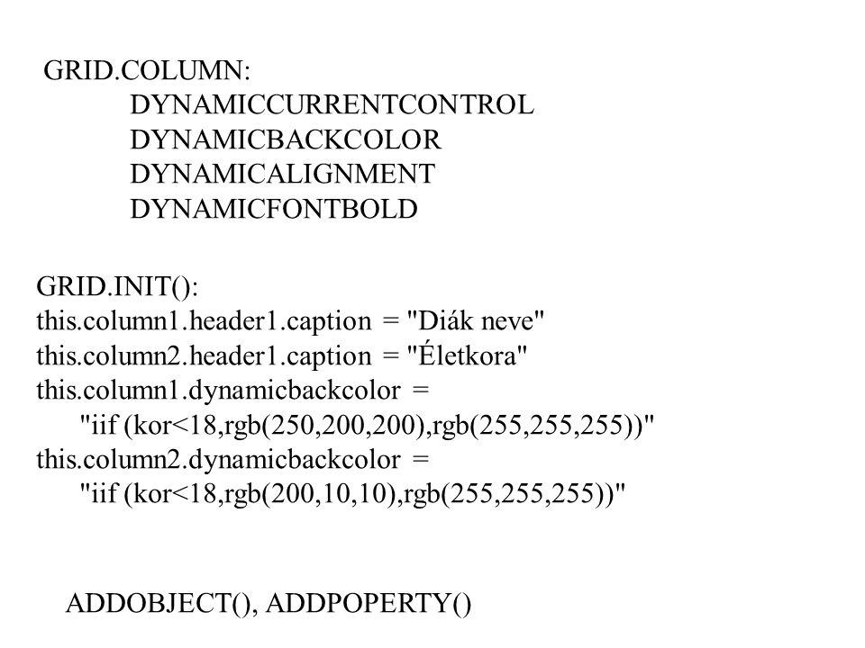 GRID.COLUMN: DYNAMICCURRENTCONTROL. DYNAMICBACKCOLOR. DYNAMICALIGNMENT. DYNAMICFONTBOLD. GRID.INIT():