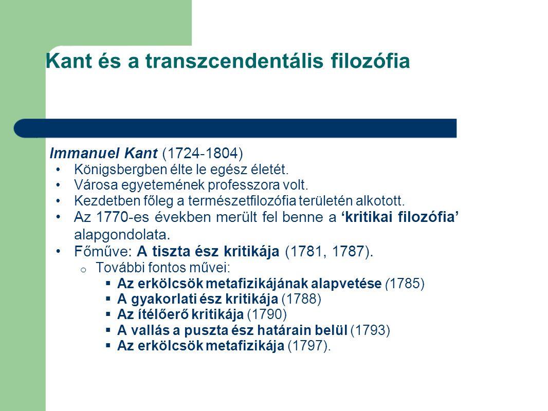 Kant és a transzcendentális filozófia