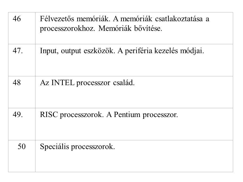 46 Félvezetős memóriák. A memóriák csatlakoztatása a processzorokhoz. Memóriák bővítése. 47. Input, output eszközök. A periféria kezelés módjai.