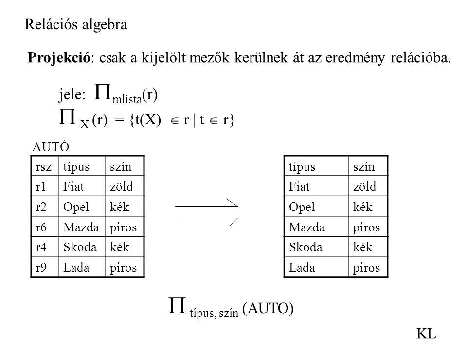  típus, szín (AUTO) Relációs algebra