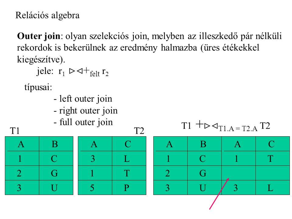 Relációs algebra Outer join: olyan szelekciós join, melyben az illeszkedő pár nélküli. rekordok is bekerülnek az eredmény halmazba (üres étékekkel.