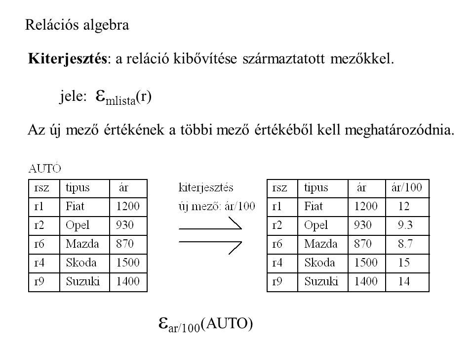 ar/100(AUTO) Relációs algebra