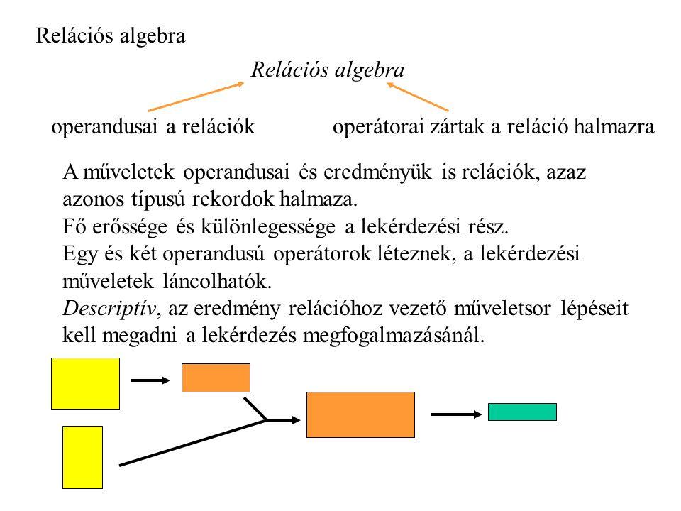 Relációs algebra Relációs algebra. operandusai a relációk. operátorai zártak a reláció halmazra.