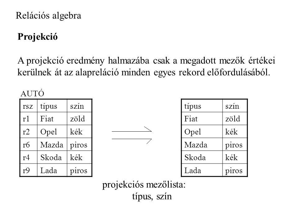 A projekció eredmény halmazába csak a megadott mezők értékei