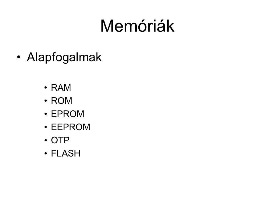 Memóriák Alapfogalmak RAM ROM EPROM EEPROM OTP FLASH