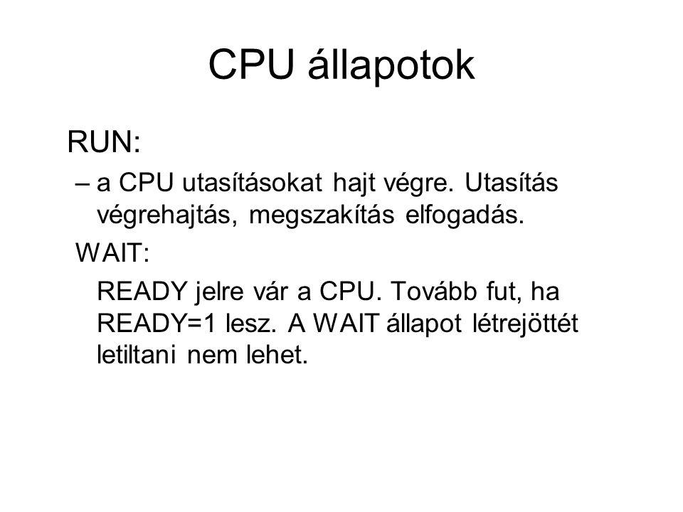 CPU állapotok RUN: a CPU utasításokat hajt végre. Utasítás végrehajtás, megszakítás elfogadás. WAIT: