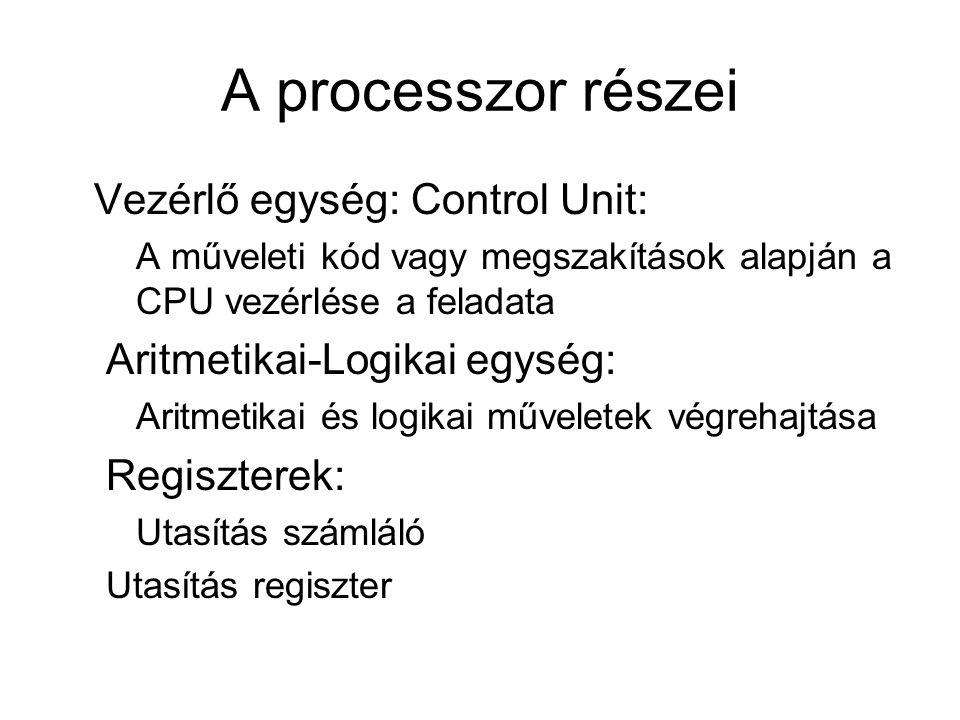 A processzor részei Vezérlő egység: Control Unit: