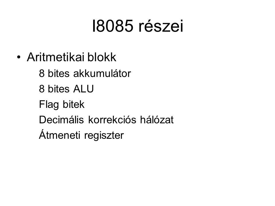I8085 részei Aritmetikai blokk 8 bites akkumulátor 8 bites ALU