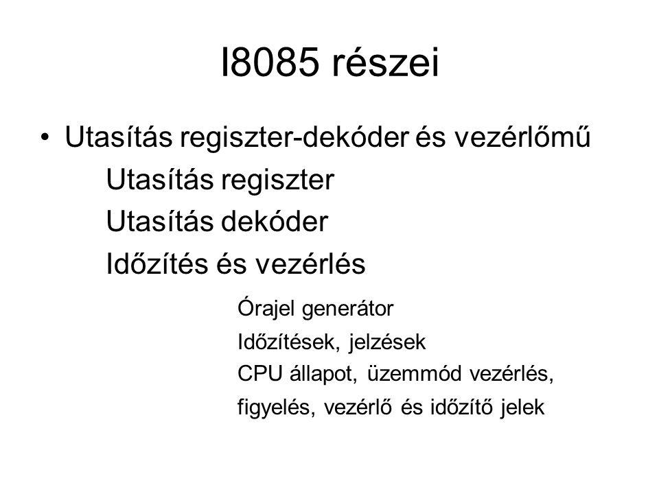I8085 részei Utasítás regiszter-dekóder és vezérlőmű
