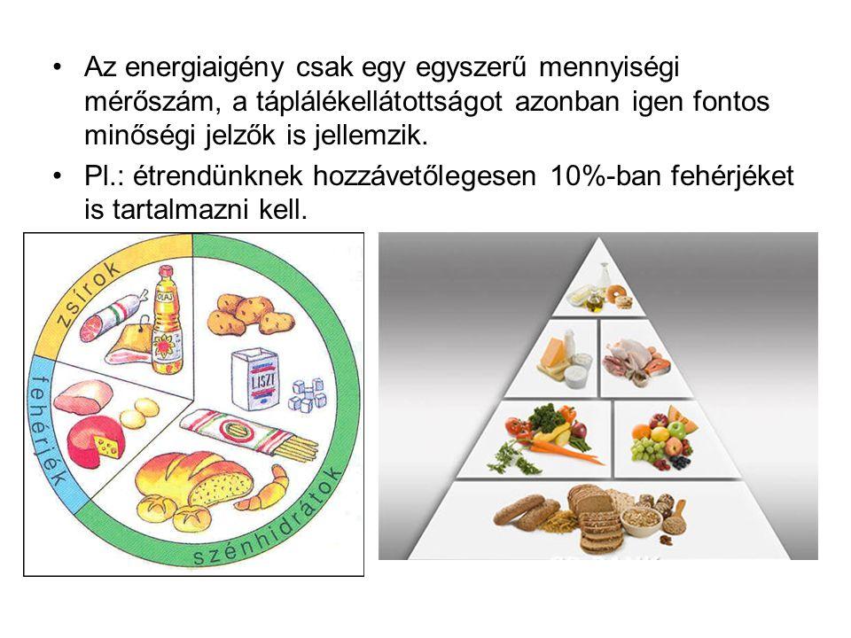 Az energiaigény csak egy egyszerű mennyiségi mérőszám, a táplálékellátottságot azonban igen fontos minőségi jelzők is jellemzik.
