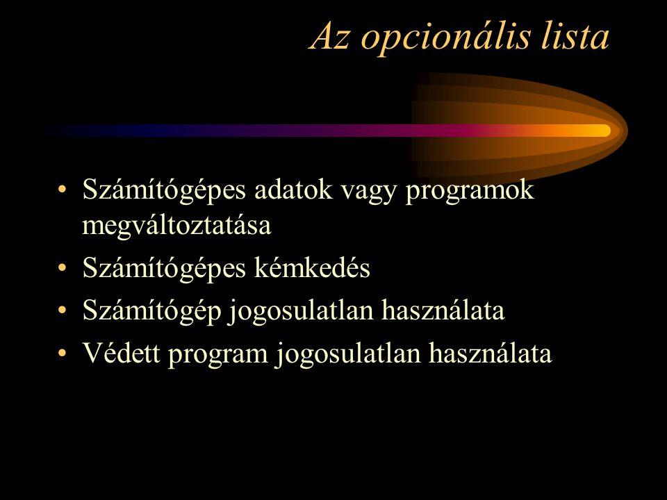 Az opcionális lista Számítógépes adatok vagy programok megváltoztatása