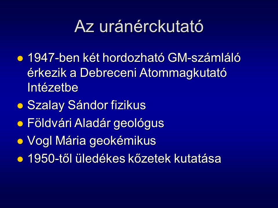 Az uránérckutató 1947-ben két hordozható GM-számláló érkezik a Debreceni Atommagkutató Intézetbe. Szalay Sándor fizikus.