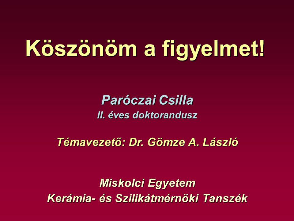 Témavezető: Dr. Gömze A. László Kerámia- és Szilikátmérnöki Tanszék