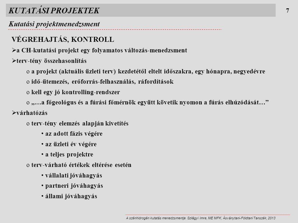 KUTATÁSI PROJEKTEK Kutatási projektmenedzsment VÉGREHAJTÁS, KONTROLL 7