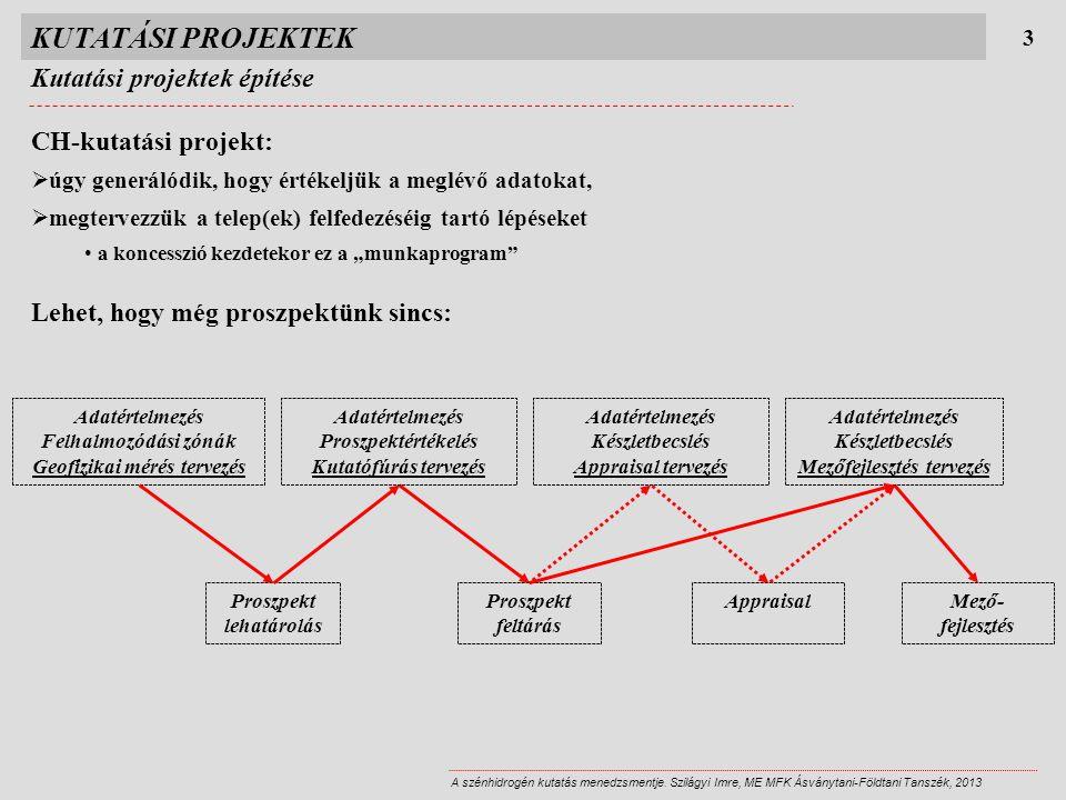 KUTATÁSI PROJEKTEK Kutatási projektek építése CH-kutatási projekt:
