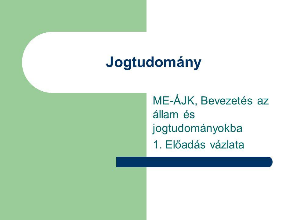 ME-ÁJK, Bevezetés az állam és jogtudományokba 1. Előadás vázlata