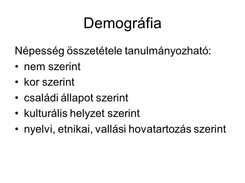 Demográfia Népesség összetétele tanulmányozható: nem szerint