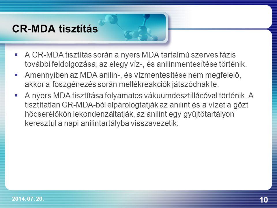CR-MDA tisztítás A CR-MDA tisztítás során a nyers MDA tartalmú szerves fázis további feldolgozása, az elegy víz-, és anilinmentesítése történik.
