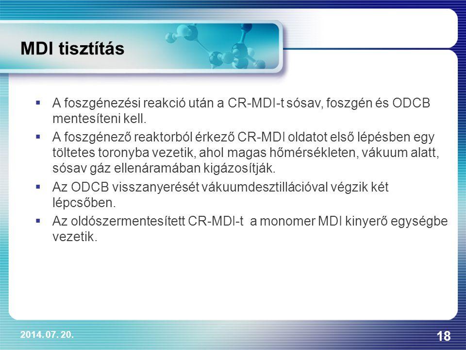 MDI tisztítás A foszgénezési reakció után a CR-MDI-t sósav, foszgén és ODCB mentesíteni kell.